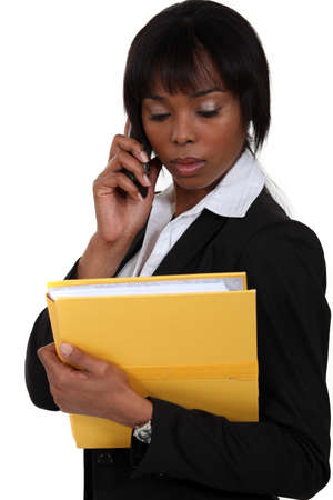 Businesswoman making important call Stock Photo - 15263624