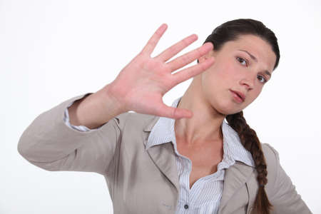 deny: Women with a gesture of rejection Stock Photo