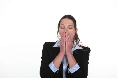 overtired: Woman yawning Stock Photo