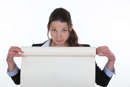 flipchart: Woman holding flip-chart paper Stock Photo