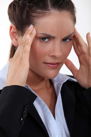 Woman with headache Stock Photo - 15290069