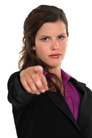 resentful: Businesswoman pointing the blame Stock Photo