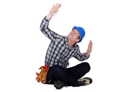 joiner: Laborer gesturing, studio shot