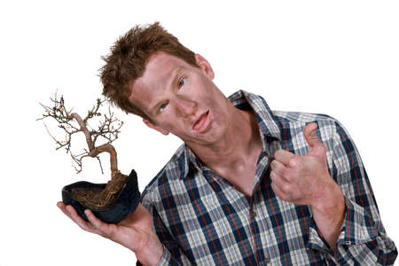 cramping: Man with bonsai
