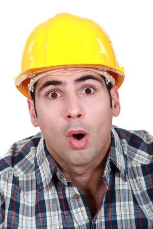 electrifying: An astonished tradesman