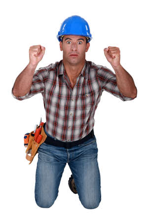 Worker with fists raised Stock Photo - 15289991