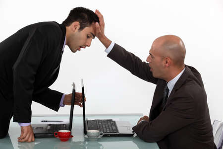 goofing: Business trying to steal ideas Stock Photo