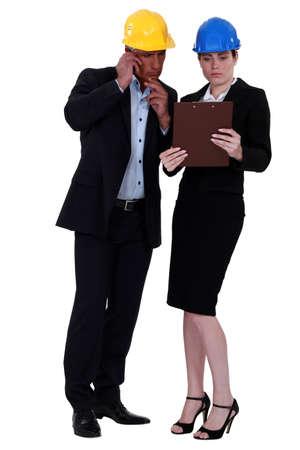 Man and woman architects photo