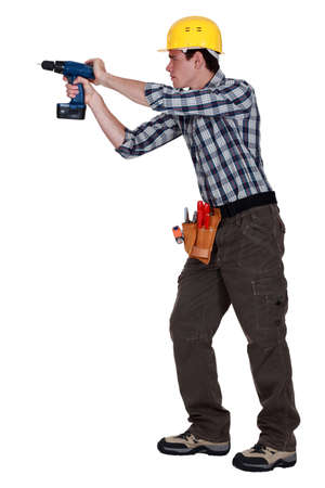 Man drilling into wall Stock Photo - 15289767