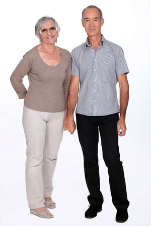 Senior couple on a white background photo