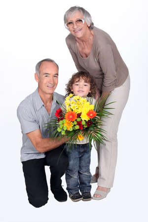 curly headed: grandparents and grandson