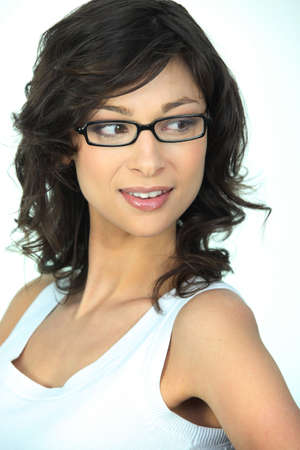 Cute brunette wearing glasses photo