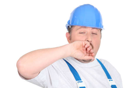 Construction man yawning Stock Photo - 15331480