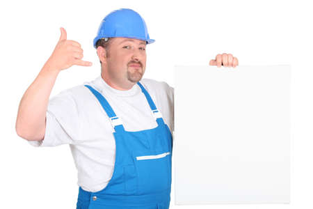 however: Construction worker with panel