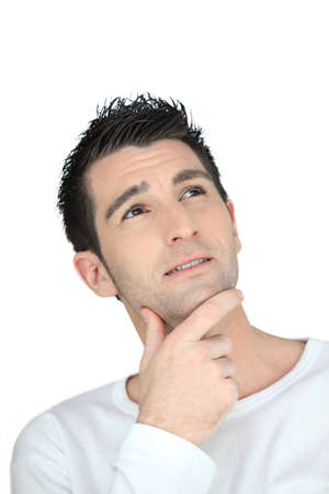 business skeptical: Doubtful man on white background Stock Photo