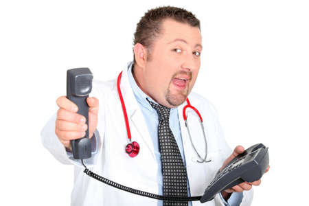 cry for help: Doctor holding the phone away from his ear Stock Photo