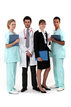 healthcare workers: An hospital team. Stock Photo