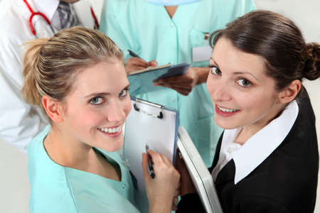 four classes: Group of young nurses Stock Photo