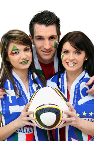 supporters: trio of italian supporters Stock Photo