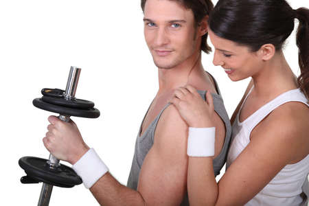 fitness center: Couple working out