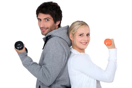 determined: Couple working out together