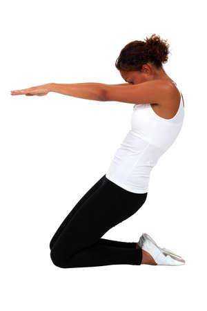 danza moderna: Una posición de yoga Foto de archivo