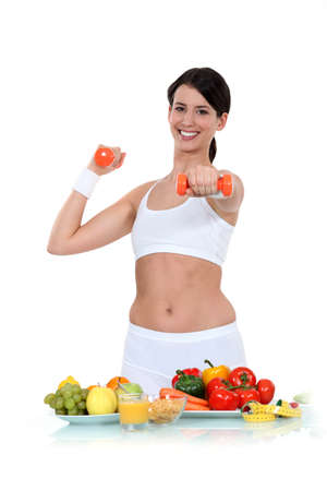 staying: Healthy diet and exercise Stock Photo