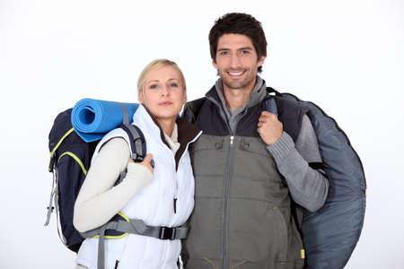 Couple on a hiking trip photo