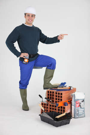 designate: Mason casual pointing Stock Photo