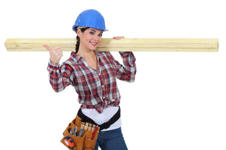 servicewoman: Woman carpenter Stock Photo