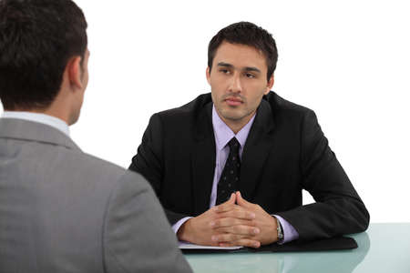 convincing: job interview Stock Photo