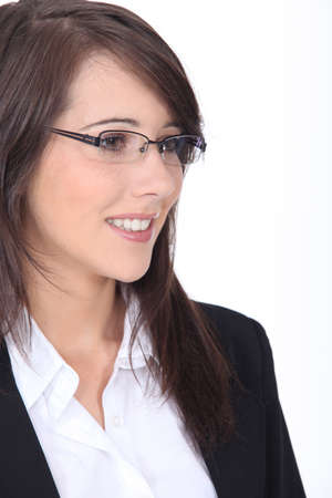Profile of young brunette office worker photo