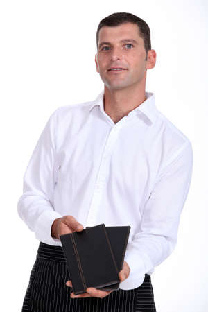 Waiter with menus photo