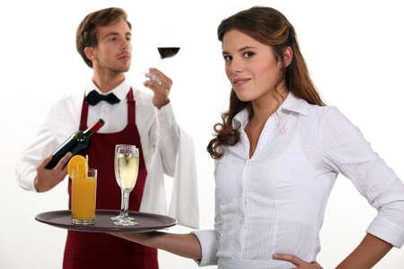 waiter tray: Wine waiter and waitress