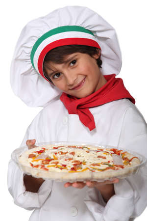 neck scarf: Horizontal photo of child with pizza
