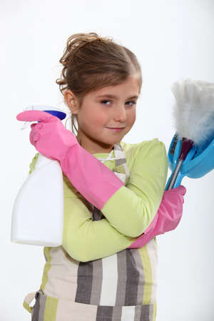 A little girl dressed as a maid  Stock Photo