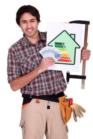 carpenter vise: A handyman promoting energy savings
