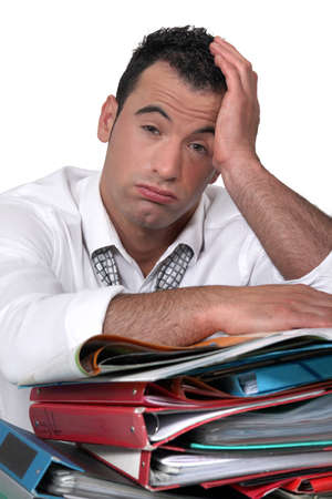 unhappy worker: overwhelmed worker