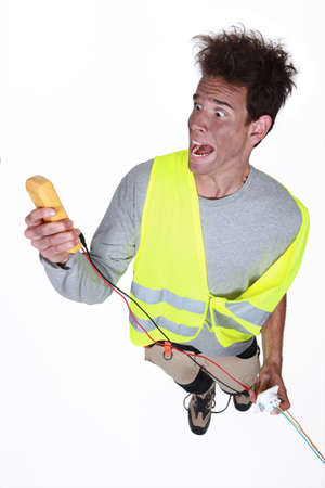 electrician in a state of shock Stock Photo - 15391631