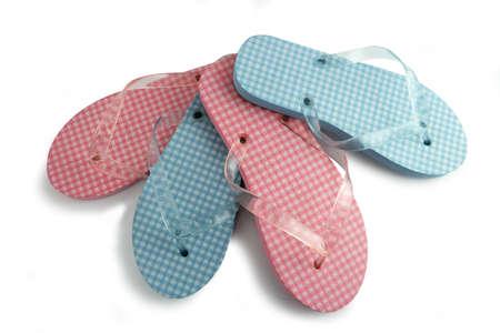 beachwear: Two pairs of flip-flops Stock Photo