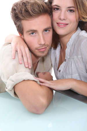 rolled up sleeves: Couple Stock Photo