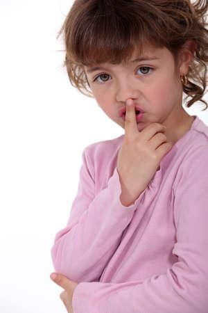 child finger: Little girl shushing