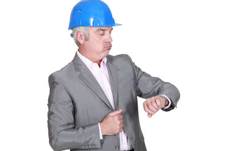 no rush: Architect looking at his watch Stock Photo