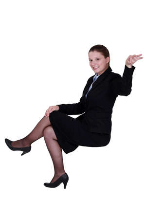 hair tied: A businesswoman making a gesture