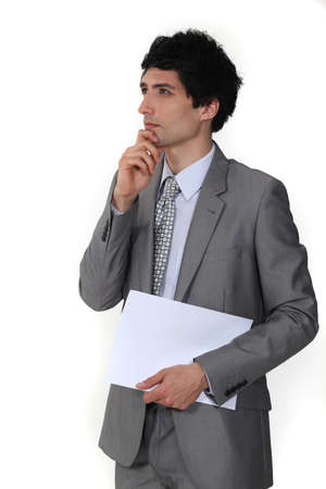 Thoughtful businessman Stock Photo - 15411919