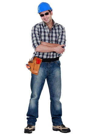 swagger: Construction worker wearing sunglasses