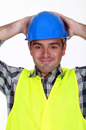 blithe: Trabajador de la construcci�n relajado Foto de archivo