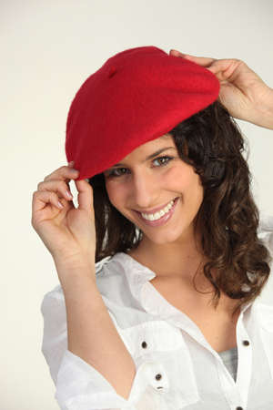 proven: Woman with a red beret Stock Photo