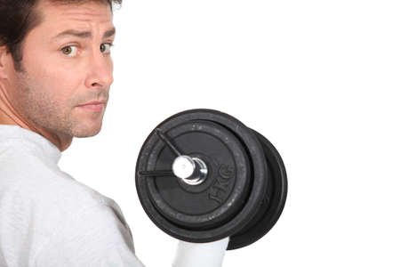 35 40 years: portrait of a man with dumbbell