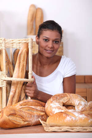 Woman in a bakers photo